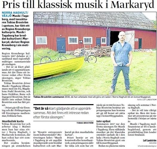 kulturpris till klassiskmusik i markaryd